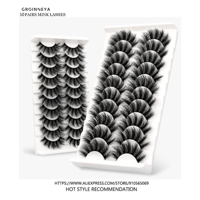 Lashes 5/10 Pairs 3D Faux Mink Lashes Fluffy Soft Wispy Volume Natural long False Eyelashes Eye Lashes Reusable Eyelashs Makeup 2