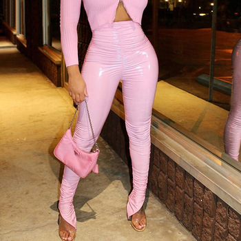 Echoine Pink PU Leather High Waist Pants Sexy Bodycon Club Trousers Skinny Pleated Stacked Split Pencil Winter