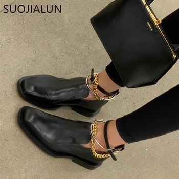 SUOJIALUN 2021 Spring Women Flat Shoes Fashion Brand Removable Ring Design Oxford Ladies Casual Outdoor Heel Loafers