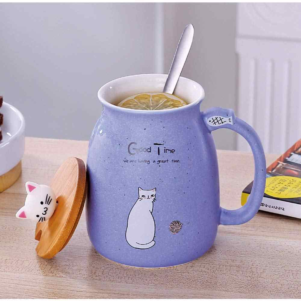 Cat Mug Cute Ceramic Coffee Cup with Lovely Kitty Wooden lid Stainless Steel Spoon,Novelty Morning Cup Tea Milk Christmas Mug Gift 380ML Pink