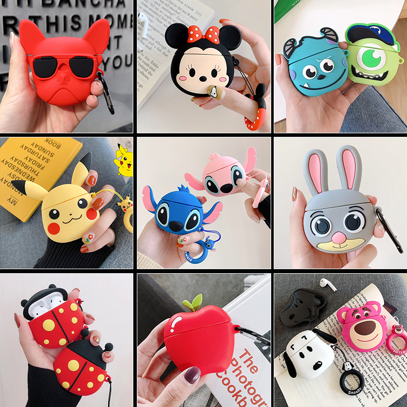 Cartoon Cute Wireless Bluetooth Earphone Case For Apple Airpods 2 Headset Soft Silicone Protective Cover For Airpods Accessories