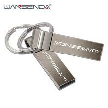 Pen drive wansenda, usb flash drive metal 4gb 8gb 16gb 32gb 64gb bastão flash drive com chaveiro