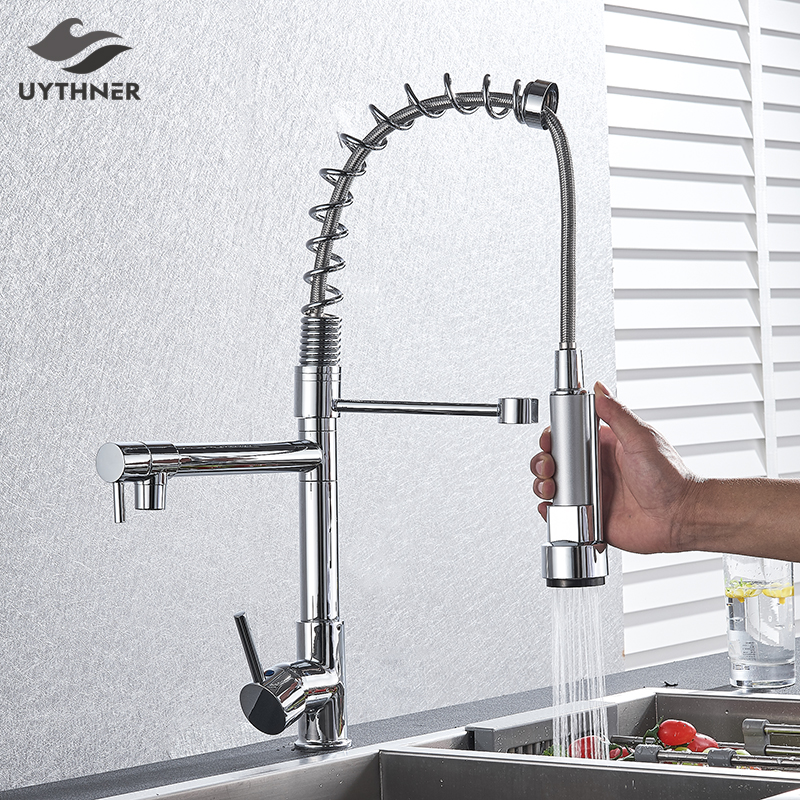 Chrome Spring Kitchen Faucet Pull out Side Sprayer Dual Spout Single Handle Mixer Tap Sink Faucet 360 Rotation Kitchen Faucets-in Kitchen Faucets from Home Improvement