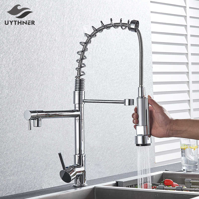 Chrome Spring Kitchen Faucet Pull Out Side Sprayer Dual Spout Single Handle Mixer Tap Sink Faucet 360 Rotation Kitchen Faucets Kitchen Faucet Sprayer Hose Faucet Sinkfaucet Connector Aliexpress