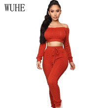 WUHE Off Shoulder Elegant Hollow Out 2 Pieces Sets Jumpsuits Sexy Slash Neck Lace-up Romper Night Club Overalls Knitting Jumper grey casual high neck hollow drop shoulder jumper