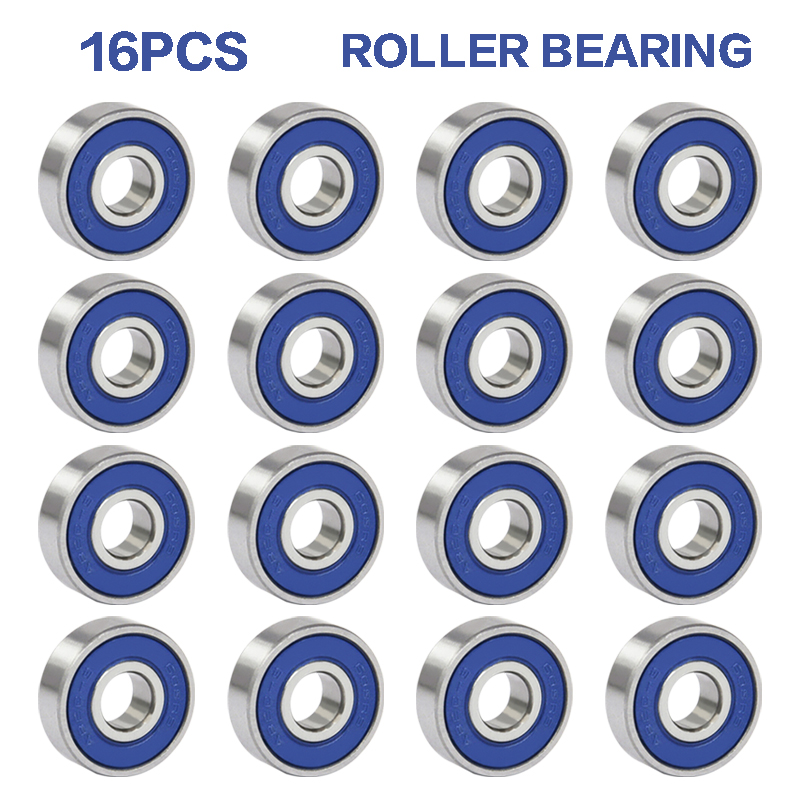 16pcs Professional Frictionless ABEC 9 Skateboard Roller Wheels High Precision Shafts Bearing Steel Scooter Spare Bearings
