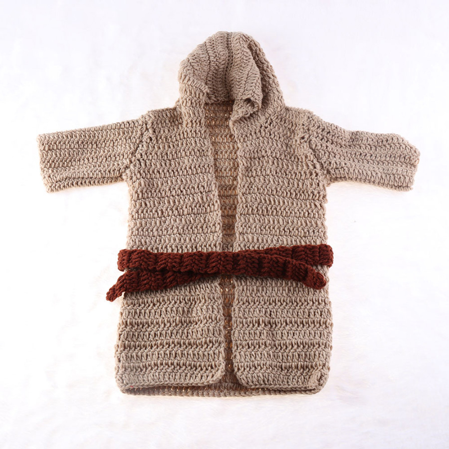 Yoda Style Newborn Infant Baby Photography Prop Crochet Knit Costume Set Handmade Toddler Cap Outfits for Baby Shower Gift (11)