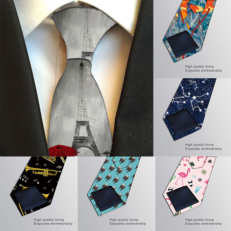Tie For Men 8cm Funny Mens Fashion Harajuku Printed Neckties Gravata Bowtie Man's Wedding Dress Ties Shirt Accessories 7Z-LD48
