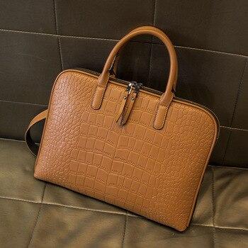Frauen Aktentasche Büro Taschen Damen Aktentaschen Dokumente 13,3 14 Zoll Laptop Tasche Leder Handtasche für Weibliche Manager Schulter Taschen