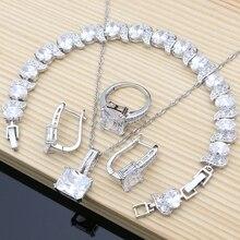 ナチュラル925シルバーブライダルジュエリーホワイトジルコンジュエリーセット女性の結婚式のイヤリングペンダントネックレス指輪ブレスレット