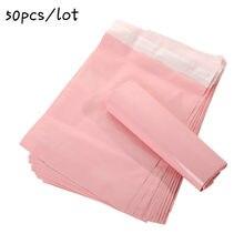 50 pçs/lote rosa translúcido courier embalagem sacos engrossar saco de armazenamento à prova dwaterproof água sacos pe material envelope mailer correio postal