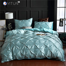 Yitun Duvet Cover Sets Silk-like Bedding Set Grey Pinch Pleated Ruffle Comforter Bedding Sets Queen 1 Pintuck 2 Pillowcases(China)