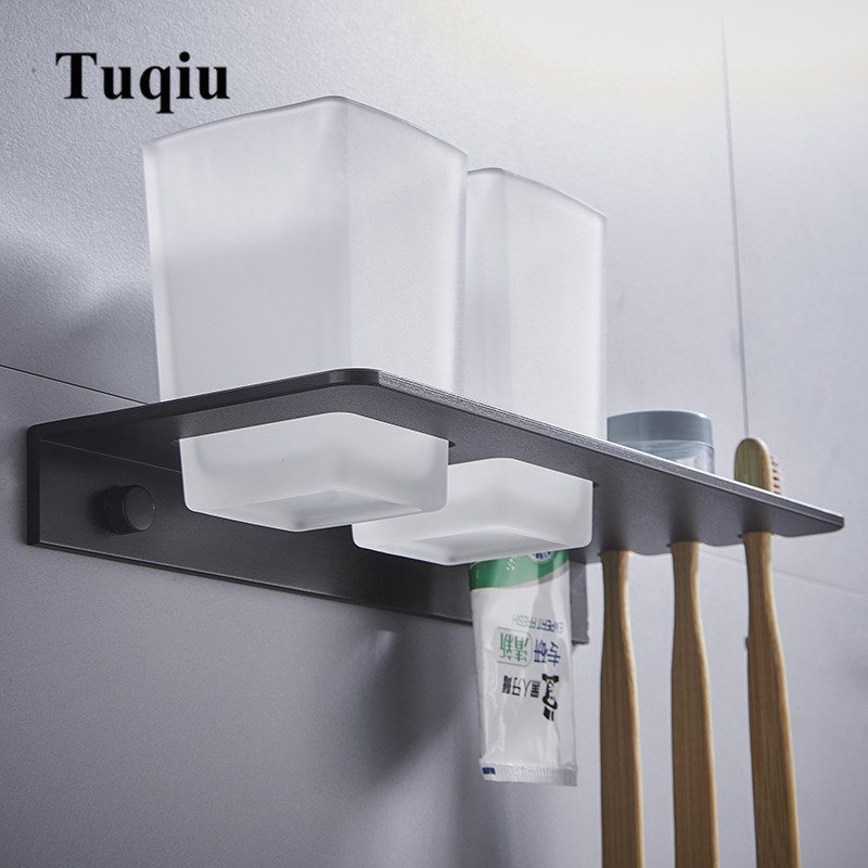 Tuqiu Double toothbrush holder with Tooth Holder Aluminum Black Tumbler & cup holder wall mounted or Nail Free bath product image
