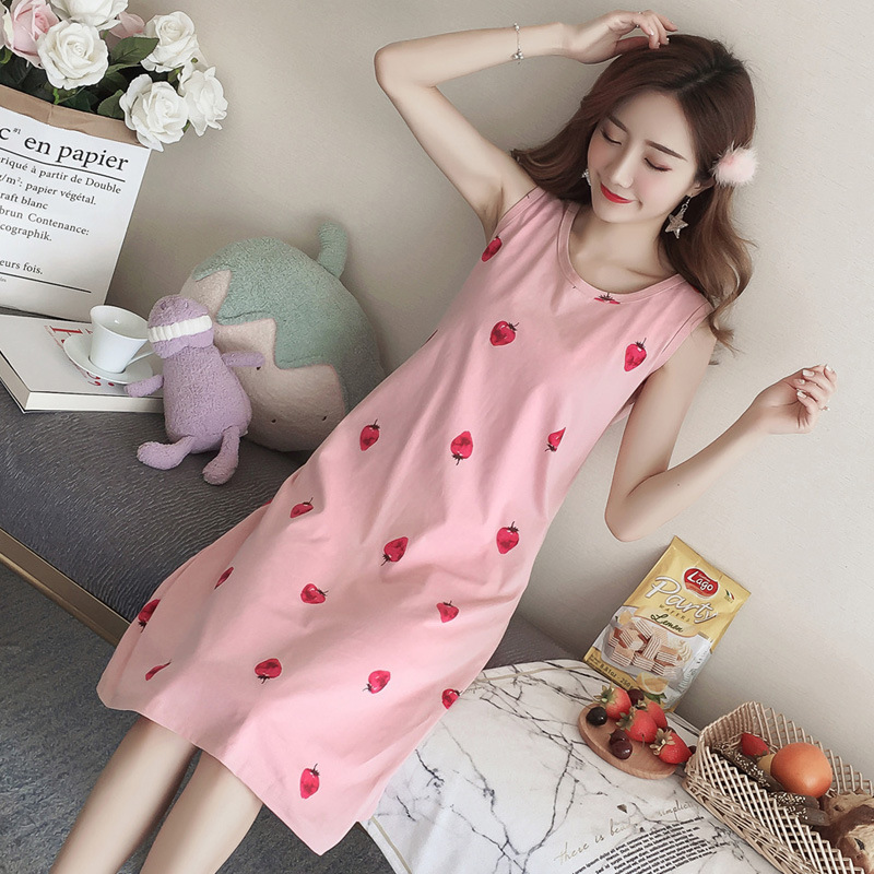 Women's Sleepwear Pink Strawberry Cute Casual Sleeveless GIRL'S Student Summer Cotton Vest Thin Dress Nightdress