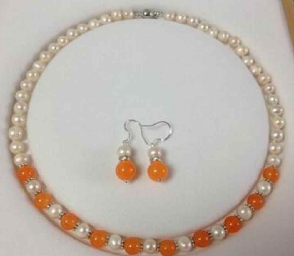 Citrine Pearl NecklaceEarring Set SALE