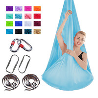 FDBRO Yoga Hammock Swing Yoga Hanging Belt Home Gym Fitness Body Building Equipment Full Set High Strength Nylon Anti Gravity