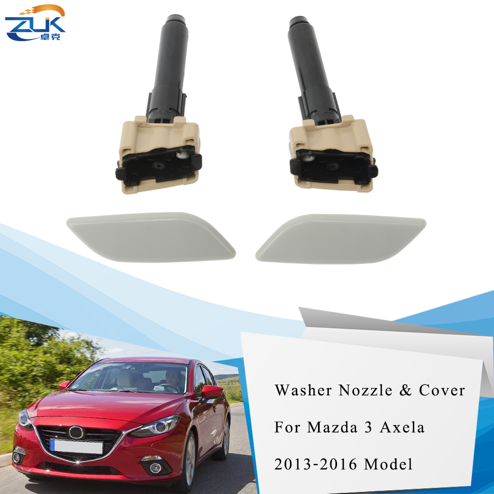 ZUK Headlight Headlamp Washer Nozzle and Cover For Mazda 3 M3 Axela 2014 2015 2016 Front Head Light Cleaner image