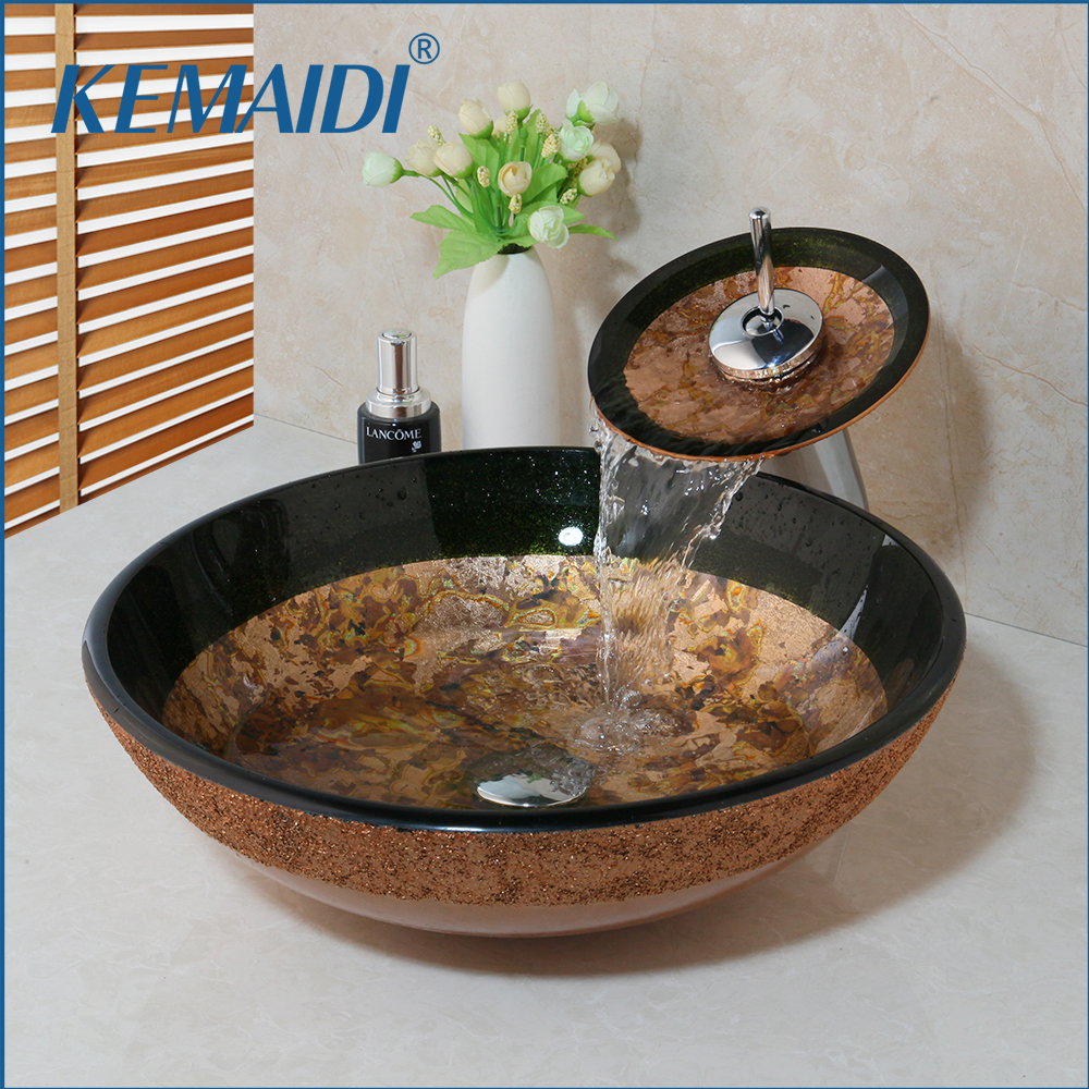 KEMAIDI Countertop Basin Sinks Bathroom Victory Vessel Washbasin Tempered Glass Sink With Chrome Waterfall Faucet Sets