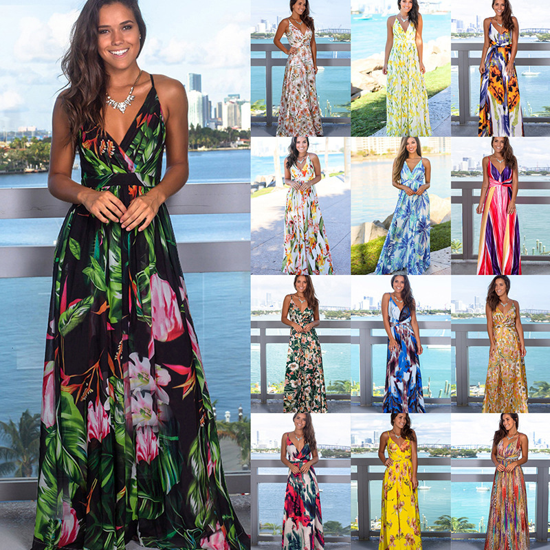 2019 Multicolor Tropical Jungle Leaf Boho Long Dress Sling Cross Back Women V Neck Party Night Elegant Sexy Maxi Summer Dresses