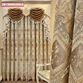 European and American Style Luxury High Quality Elegant Beige Chenille Embroidered Blackout Curtains for Living Room Bedroom
