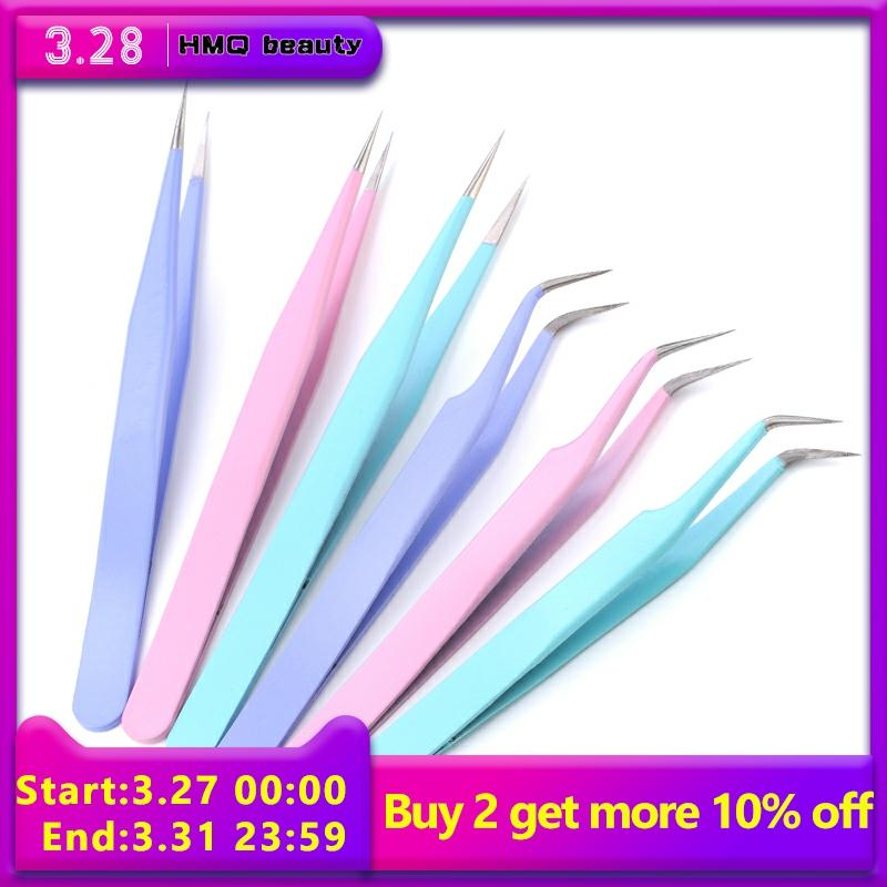 Candy-colored Eyelash Tweezers For Eyelash Extension Forceps Stainless Steel High-precision Eyelash Extension Tweezers Set