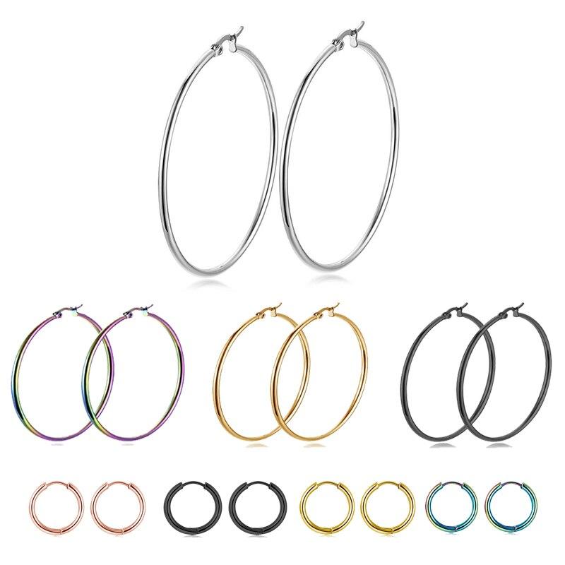 FENGLI Big Circle Women Hoop Earrings Colorful Black Exaggerated Hoop Ear Loop Smooth Ring Earring Small Stainless Steel Gifts