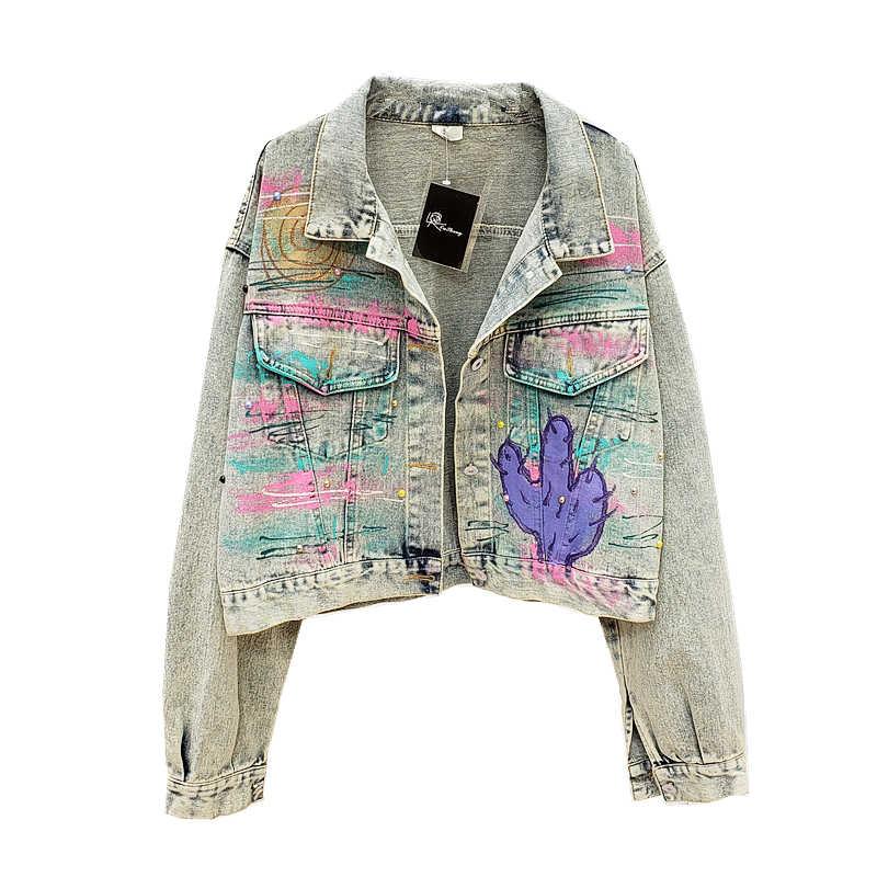 2020 新デニムジャケット女性のボーイフレンドスタイルロングバットウィングスリーブレターグラフィティデニムコート女性ヴィンテージ高品質