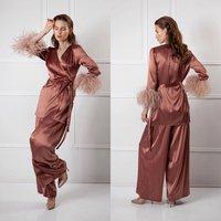 Women Sexy Lady Feather Sleepwear Wedding Outfit Garment Bridal Jacket Bathrobe Sheer Nightgown Custom Made Robe