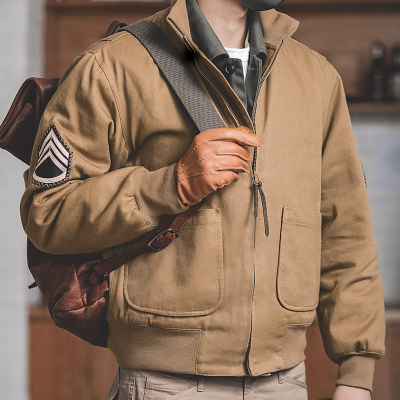 Maden Men's Brown Military Flight Bomber Jacket Vintage Pilot Aviator Monocycle Jacket Slim Fit With Patches Stand Collar