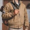 Мужская куртка-бомбер Maden, коричневый пилот в стиле милитари, винтажный пилот, Авиатор, мотоциклетная куртка, приталенный силуэт с нашивками...