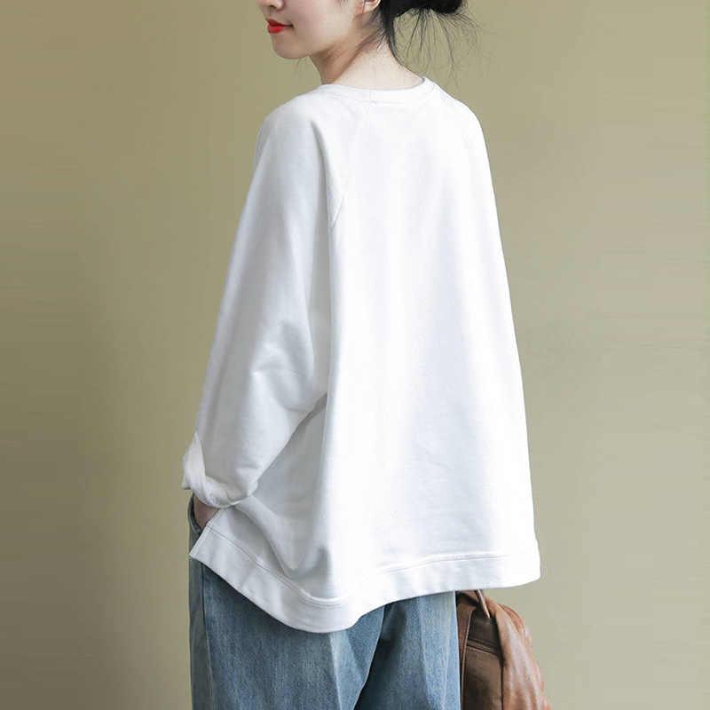 ผ้าฝ้าย 100% ผู้หญิงลำลองฤดูใบไม้ผลิ 2020 ใหม่แฟชั่น Harajuku หญิงหลวมสบายเสื้อ Hoodies PLUS ขนาด P303