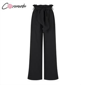 Image 5 - Conmoto Fall 2019 Women Fashion Black Long Pants Casual High Waist Wide Leg Trousers Female Autumn Winter Large Size Lady Pants