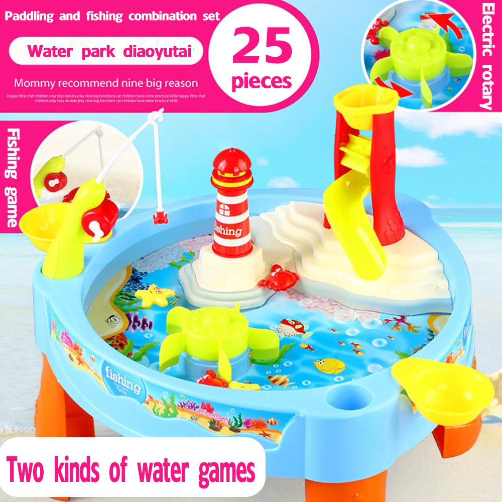 NEW Magnetic Electric Water Toys Fishing Toys Table With Light Music Beach Toys Kids Birthday Christmas Gift Toys For Children