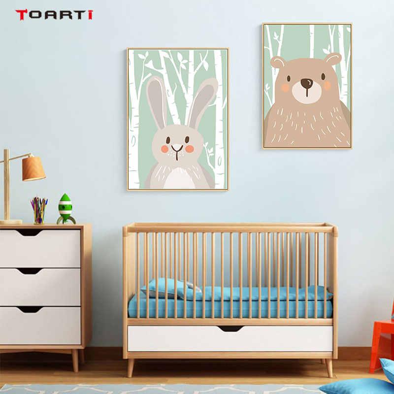 الكرتون الغابات الحيوانات المشارك يطبع أرنب الثعلب الدب قماش اللوحة على الجدار للأطفال الحضانة غرفة نوم صورة فنية ديكور المنزل