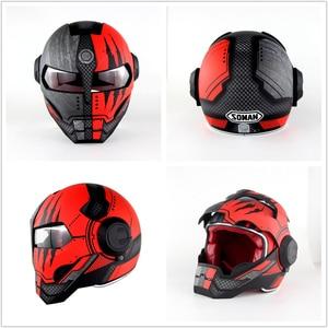 Image 4 - SOMAN Iron Man Helmet Flip Up Motorcycle Helmet Robot Style Motor Bike Casco Monster Casque DOT Approval SM515 Cool Helmets 515
