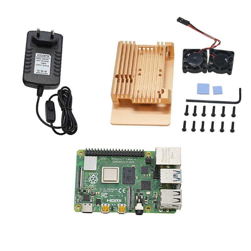 for Raspberry Pi 4 Model B 2G RAM DIY Kit with Protective Gold Case Cooling Dual Fan 5V 3A Power Adapter