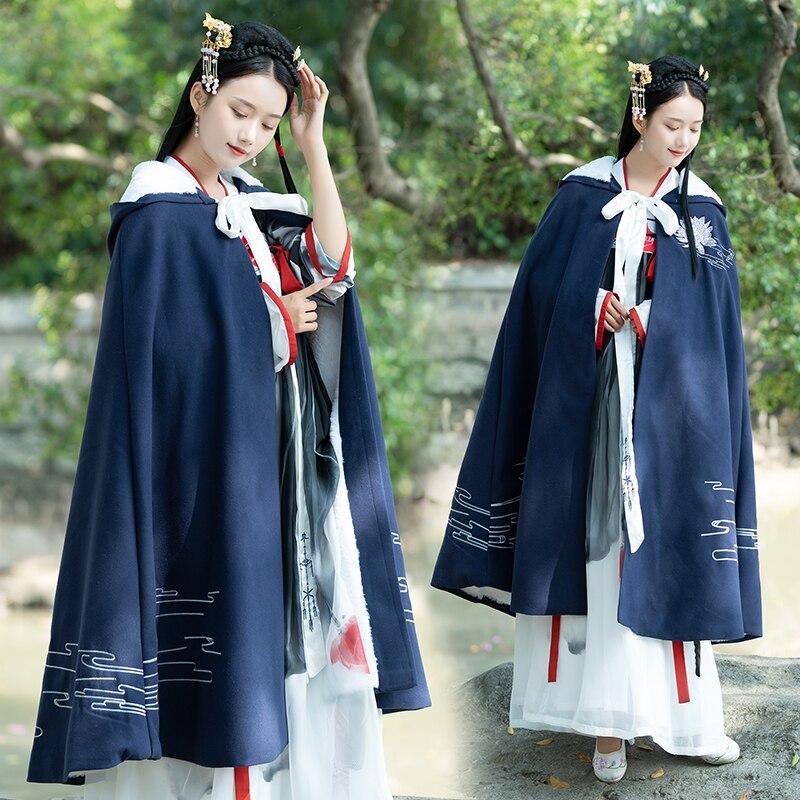 New Female Hanfu Coat Chinese Traditional Blue Hanfu Cloak Ancient China Cosplay Hanfu Embroidery Long Robe Costume DQL2178