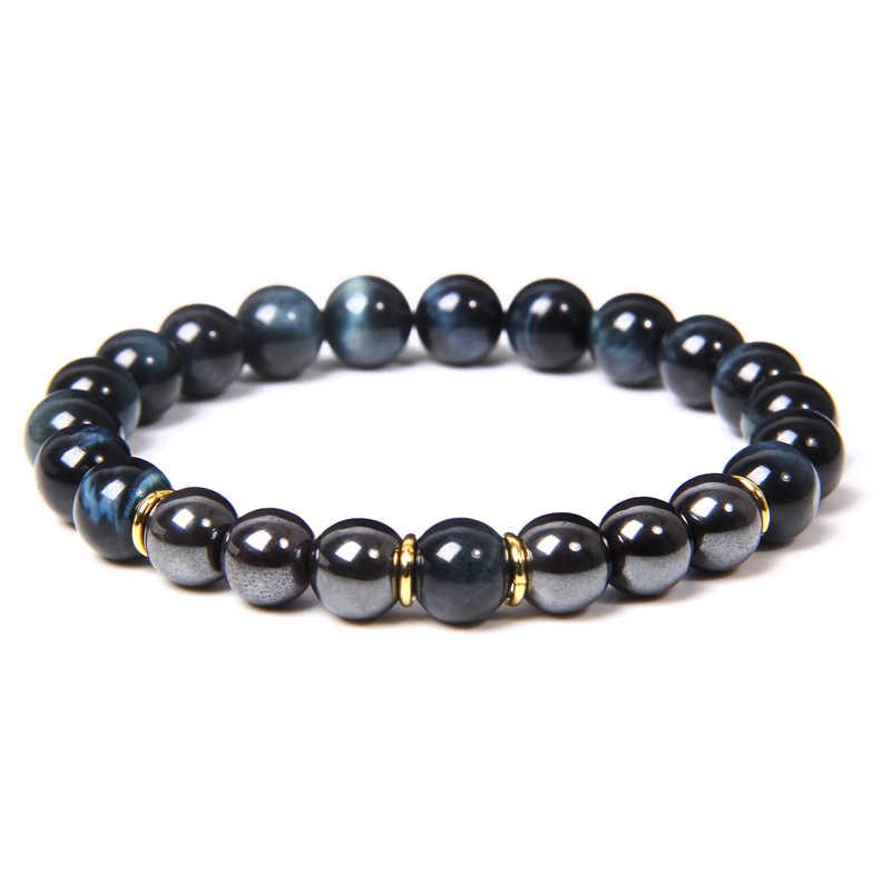 Pulsera de hombre, pulseras de piedra de ojo de tigre azul Natural, pulsera elástica clásica de moda para hombre, brazalete de cuentas de hematita, joyería