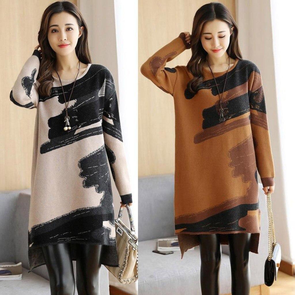 2019 Women Autumn Winter Dress Fashion Korean Loose Dress Knitted Long Sleeve Sweater Dresses Japanese Korean Style Dress
