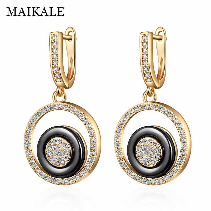 MAIKALE Trendy Ceramic Drop Earrings Round Copper Plated Gold Silver High Quality Pendant Earrings For Women Send Friend Gifts