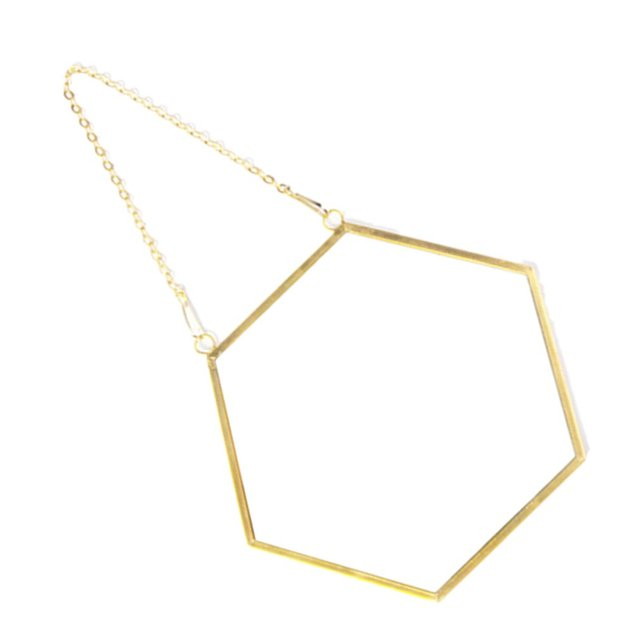 Nordic Minimalist Home Decoration Geometric Shape Gold Brass Hexagonal Mirror Bathroom Mirror Entrance Mirror Makeup Mirror 4