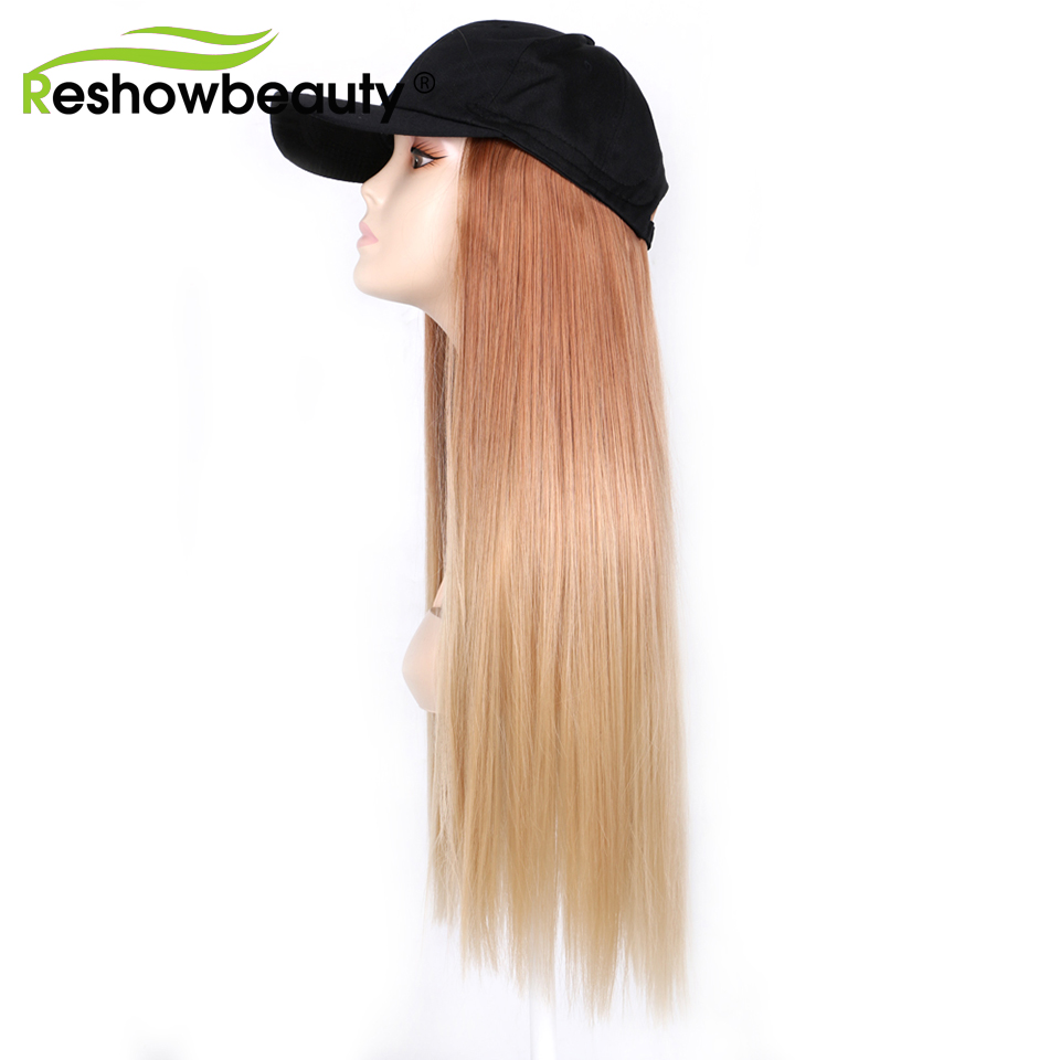Hat Wig Baseball Hat Long Straight Synthetic Hair Extensions Hat with Hair Wig 22