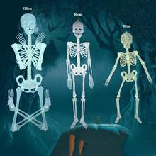 Horror Luminous Movable Skull Skeleton Scary Party Club Props Halloween Decor(China)