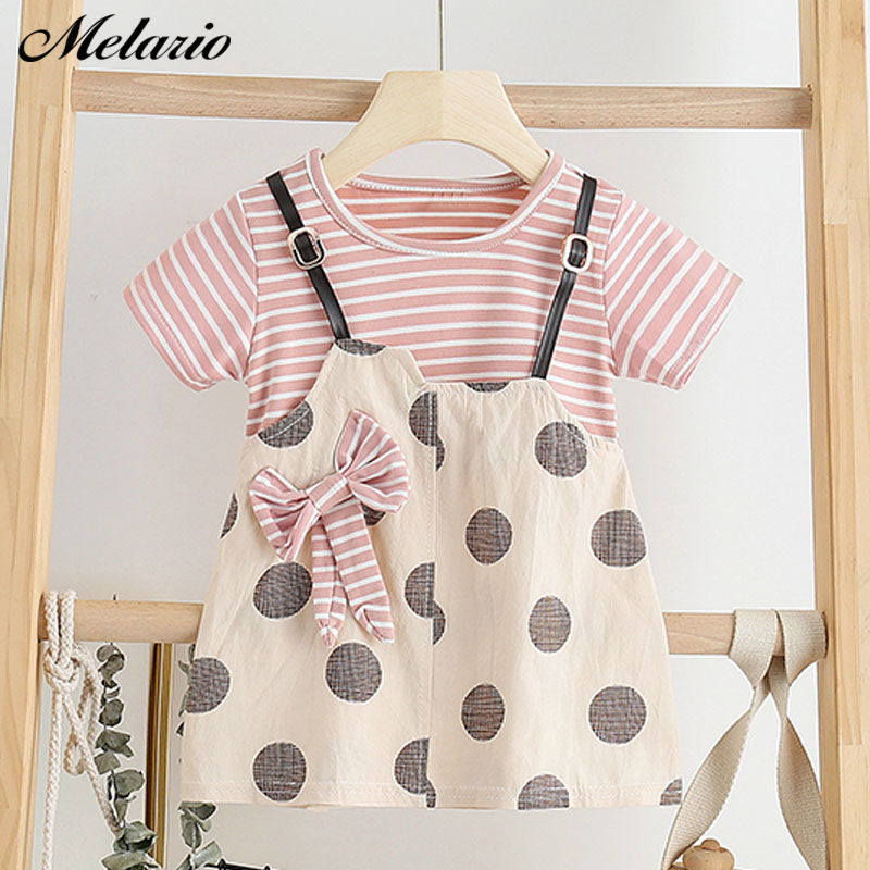 Melario Baby Dress Newborn Toddler Girls Summer Tutu Dress Kids Baby Girl Printing Princess Dresses Sundress Hats 2PCS Clothing