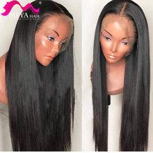 Meya 28 30 32 polegada 13x4 frente do laço em linha reta perucas de cabelo humano para as mulheres peruca frontal do laço peruca do laço reto malaio pré arrancado