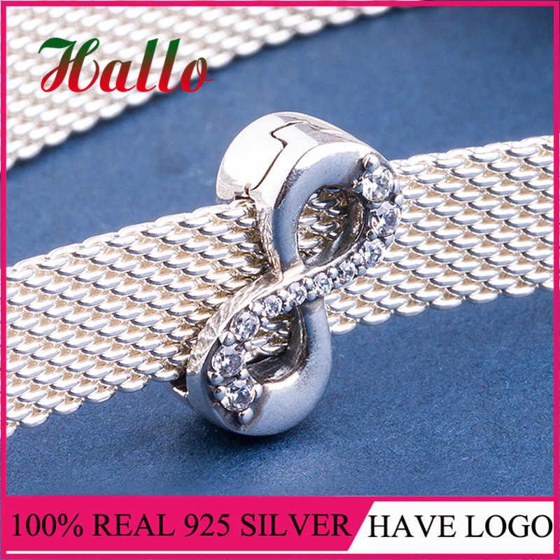 Berloque prata 925 Серебряный сверкающий Бесконечный Браслет-бусы подходят браслеты стерлинговые серебряные ювелирные изделия, подвески-талисманы
