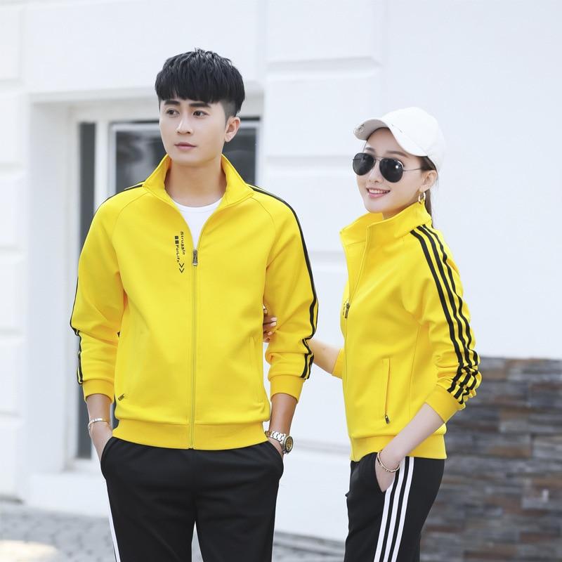 2019 Autumn Long Sleeve Sports Set Men's Large Size Coat Sports Clothing WOMEN'S Suit Korean-style Hoodie Casual Couples Fashion