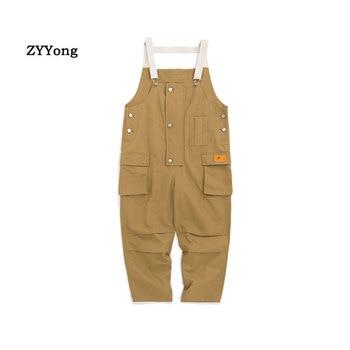 2020 New Cotton Men's Pockets Buttons Loose Bib Overalls Hip Hop Suspenders Jumpsuits Coveralls Blue Khaki Men's Shorts