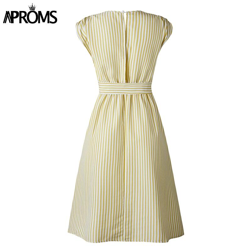 Aproms Vintage Stripe Print Midi Dress Women Elegant Deep V Sash Tie Up Bodycon Dresses Female Summer Streetwear Sundresses 19 13