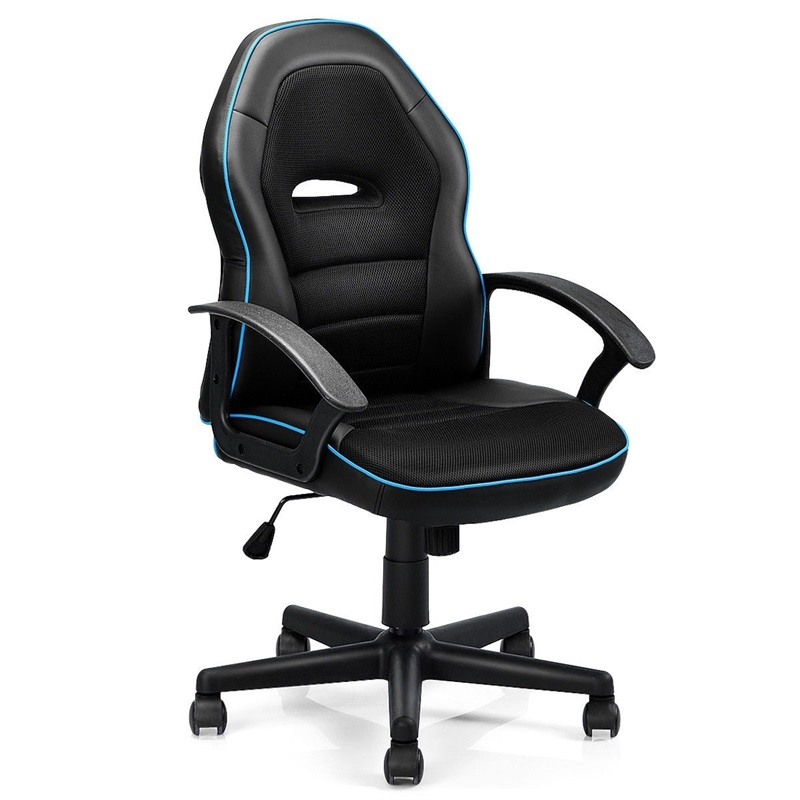Costway Racing Game Gaming Chair Mid-Back Office Chair For Swivel Lift Desk Computer Chair Silla Gamer Office Furniture Armchair